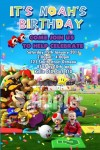 Super Mario personalised photo birthday party invitations