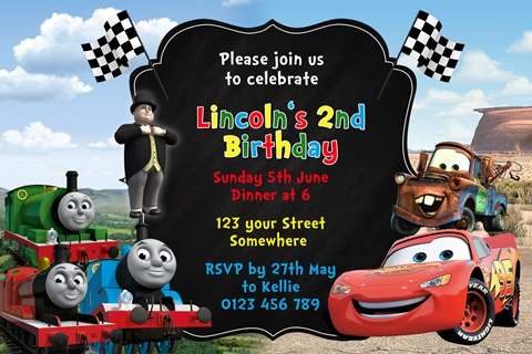 thomas and cars birthday party invite