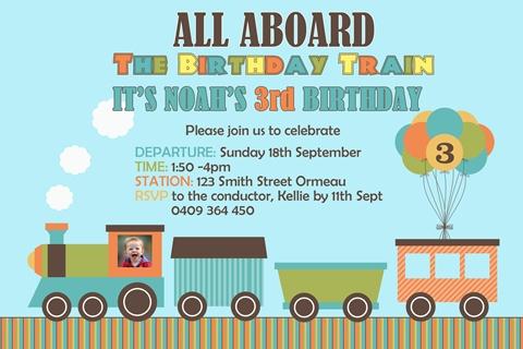 colourful boys Train invitations