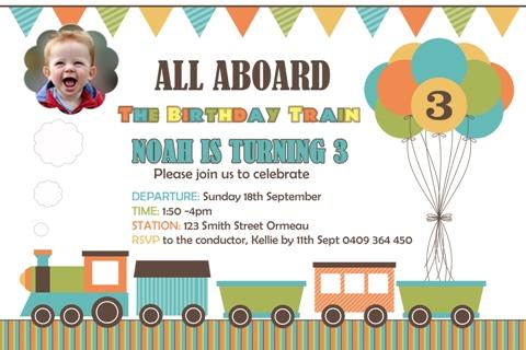 Train personalised photo birthday party invitations