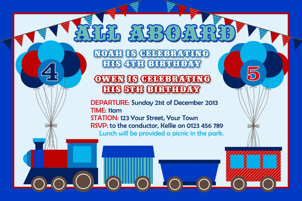 joint twin red blue Train invitation