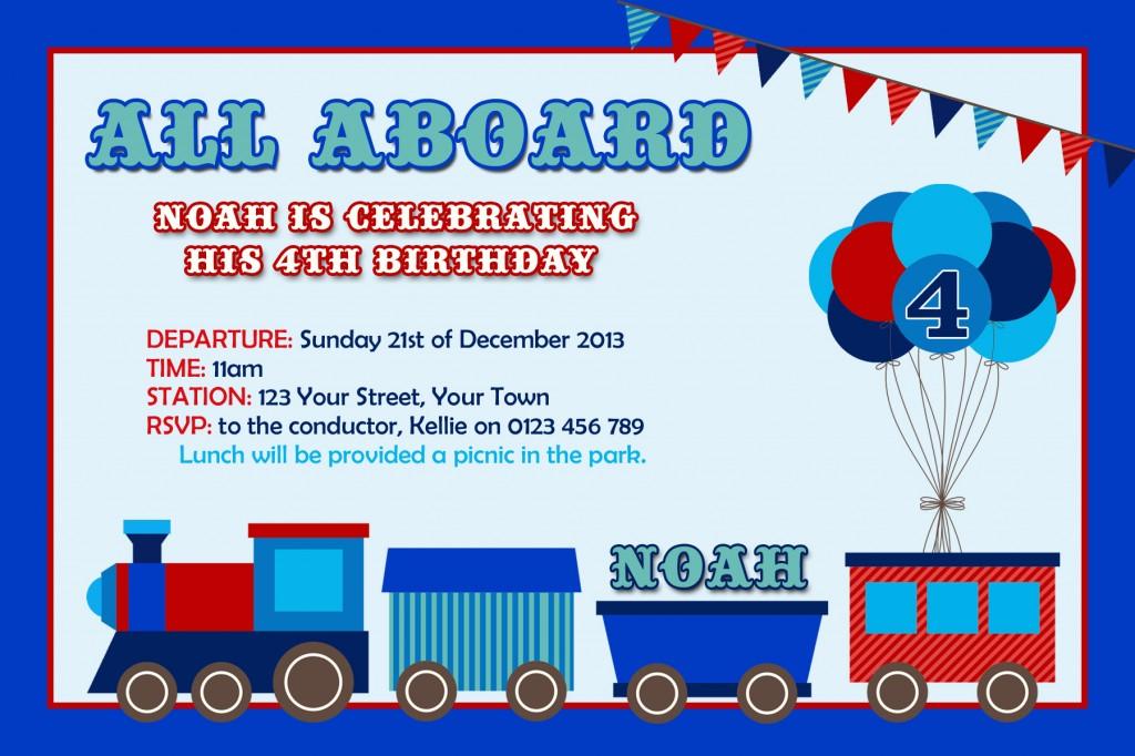 boys red blue Train invites