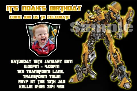 Transformers bumble bee personalised photo birthday party invitations