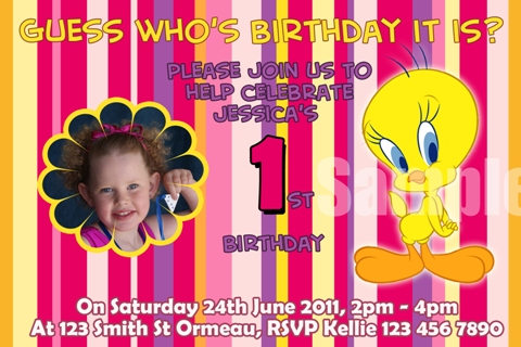 Tweety Bird personalised photo birthday party invitations
