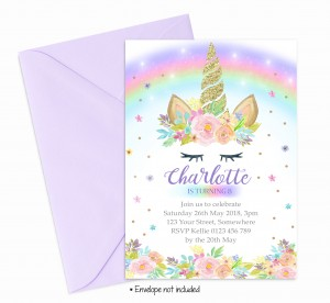 girls unicorn invitations invites