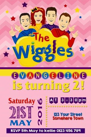 girls Wiggles birthday party invitation