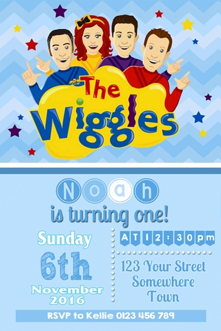boys Wiggles birthday party invites