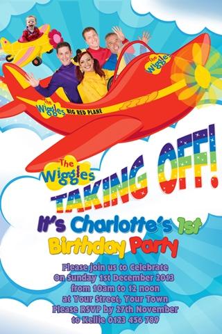 Wiggles plane boys and girls birthday party invitation
