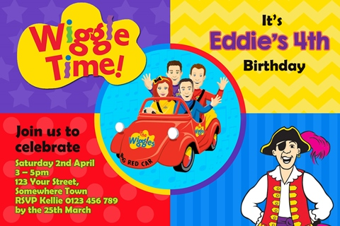 Wiggles personalised party invitations car captain