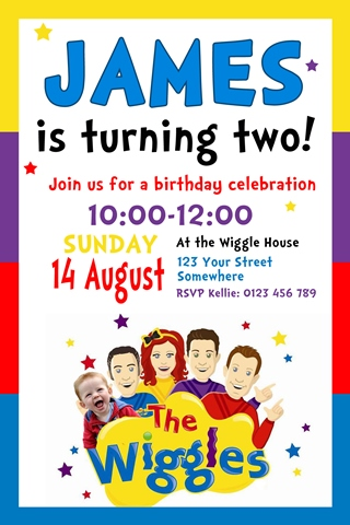 Wiggles red blue purple yellow personalised birthday party invitations