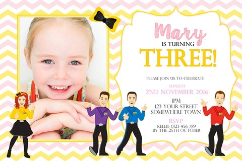 girls Wiggles birthday party invitation pink and yellow