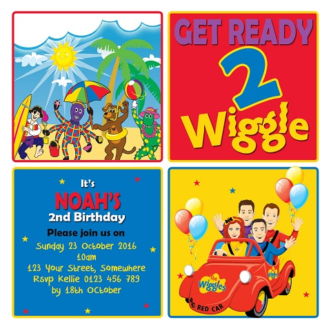 Wiggles character personalised birthday party invitations