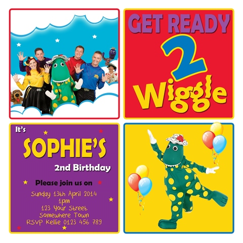 wiggles characters dorothy dinosaur red purple blue yellow birthday party invitation