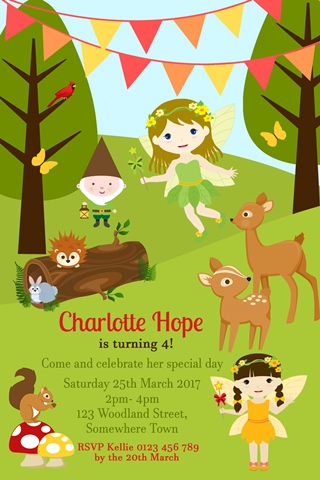 Woodland Fairies fairy birthday invitation