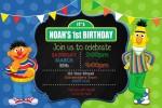 bert and ernie birthday party invitation