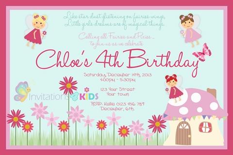 Fairy and Mushroom birthday party invitation