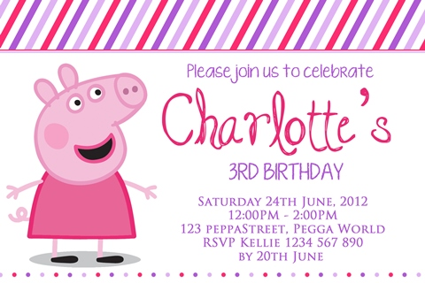 pink purple girls Peppa Pig birthday party invitations