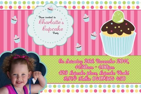 Sweet treats cupcake personalised photo birthday party invitations