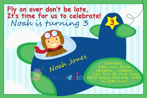 boys aeroplane airplane birthday party invitations and invites