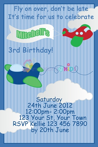 boys aeroplane airplane plane birthday party invitations and invites