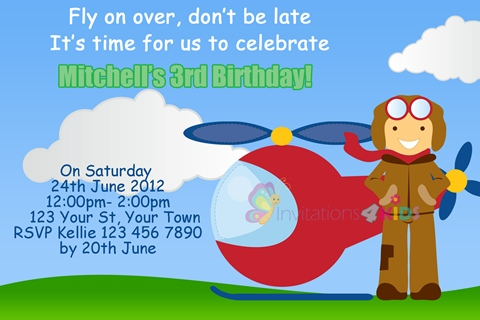 boys helicopter plane birthday party invitations and invites