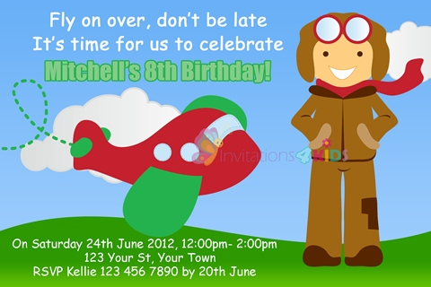 boys aeroplane airplane plane with pilot birthday party invitations and invites