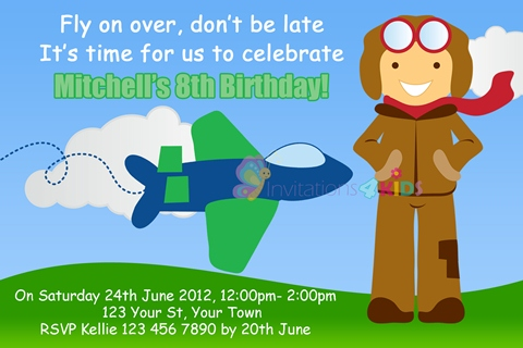 boys aeroplane airplane jet plane with pilot birthday party invitations and invites