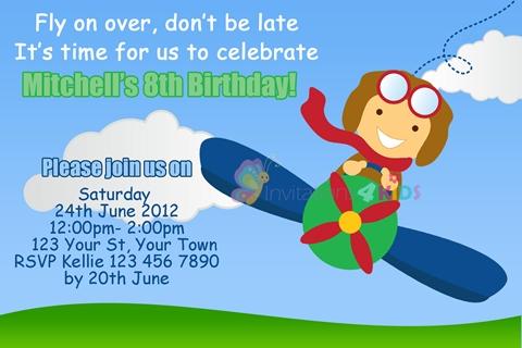 Pilot in airplane aeroplane birthday party invitation invite