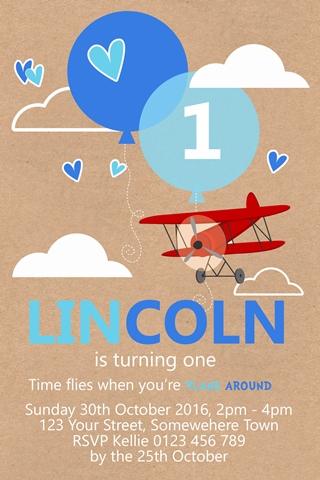 Boys 1st birthday airplane aeroplane party invitation invite