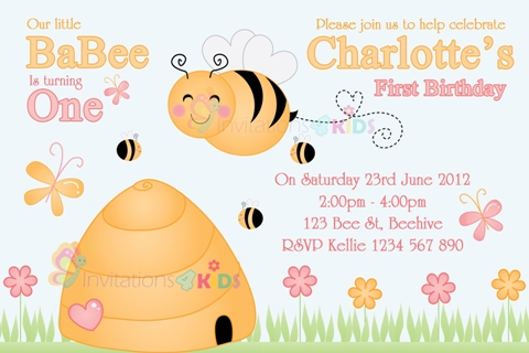 girls cute bee baby 1st first personalised birthday party baby shower invitation