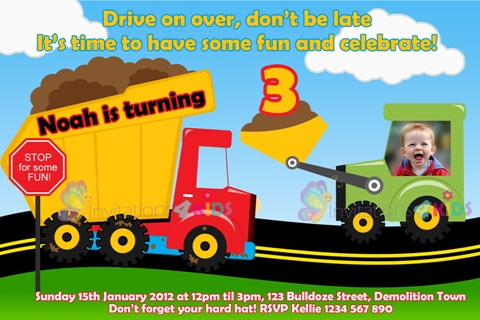 Building, dumptruck and construction personalised birthday party invitations invites