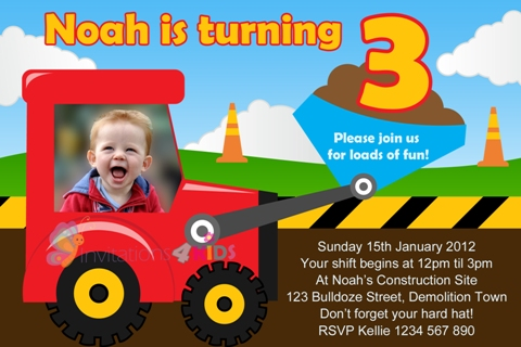 Building, dumptruck, tractor and construction personalised birthday party invitations invites