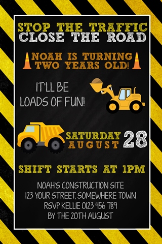 Boys construction birthday party invite