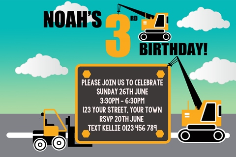 Crane and Forklift birthday party invitation