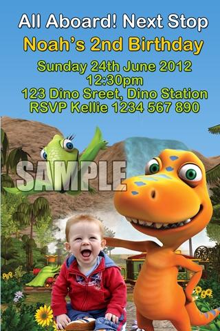 Dinosaur Train personalised birthday party photo invitations