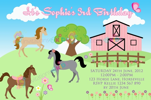 girls Personalised horse riding and pony birthday party invitations
