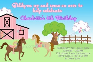 girls Personalised horse riding and pony field stable birthday party invitations