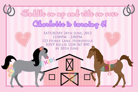 girls pink Personalised horse and pony saddle stable birthday party invitations
