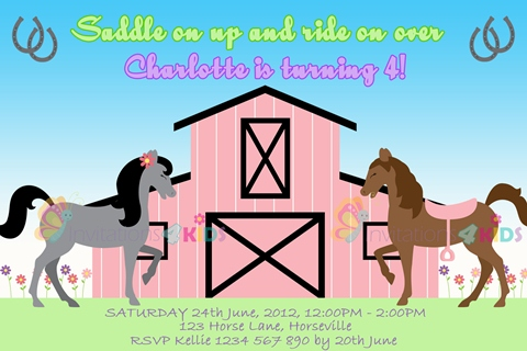 girls Personalised horse and pony stable birthday party invitations