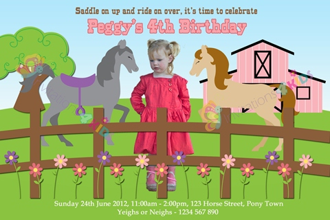 girls Personalised horse and pony birthday party invitations