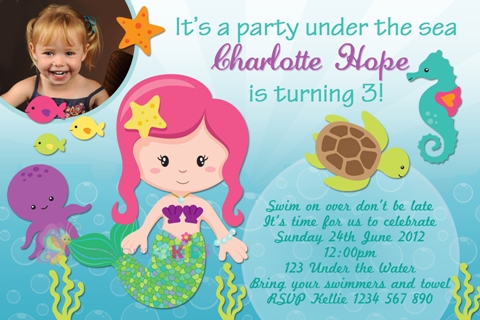 Mermaid and under the sea personalised birthday party invitation