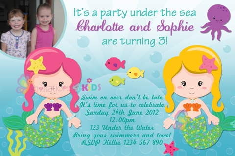 Twin girls Mermaid and under the sea personalised birthday party invitation
