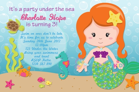 girls Mermaid and under the sea personalised birthday party invitation