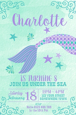 girls Mermaid Tail birthday party invitation
