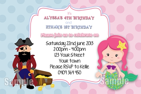 Pirate and Mermaid boys girls birthday party invitation