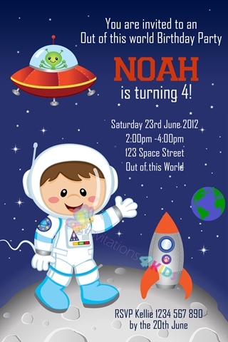 boys Personalised space rocket martian moonand astronaut birthday party invitations