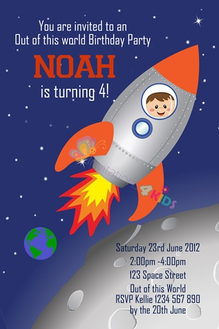 Personalised space rocket and astronaut birthday party invitations