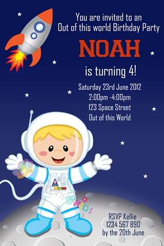 boys Personalised space and astronaut rocket birthday party invitations