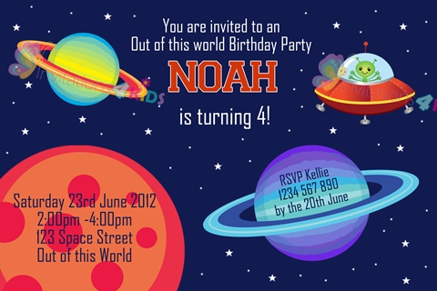 boys Personalised space planets martian and astronaut birthday party invitations