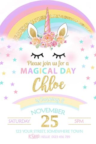 Girls rainbow unicorn face birthday party invite invitation